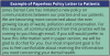 Table 1 – Example of paperless policy letter to patients